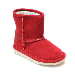 L'Amour Girls Red Faux Shearling Ankle Boot - Babychelle.com