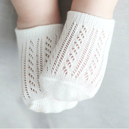 Baby Girl White Crochet Ankle Socks - Babychelle.com