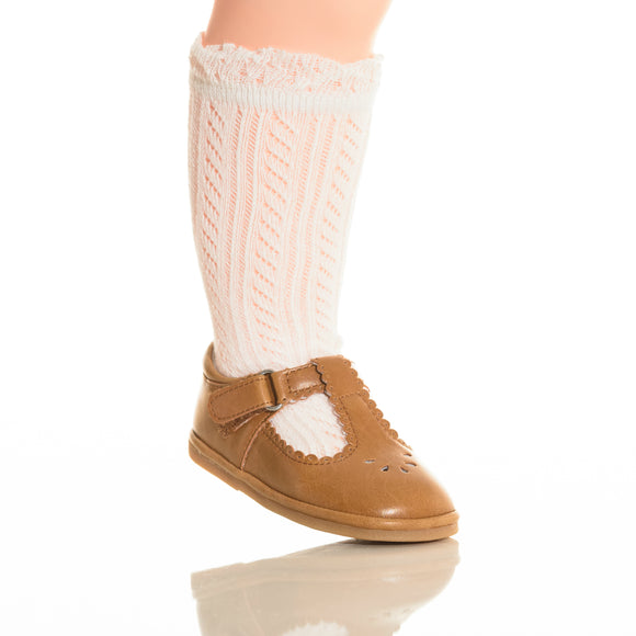 Baby White Crochet Knee Socks - Babychelle.com