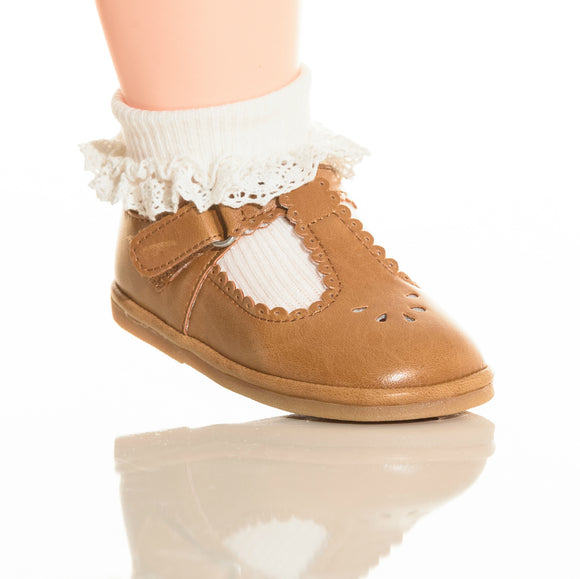 Baby Girls White Cotton Crochet Trim Stripe Socks - Babychelle.com