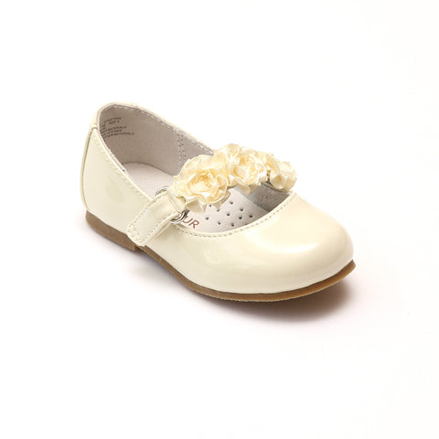 L'Amour Girls Y535 Patent Cream Rosette Flats