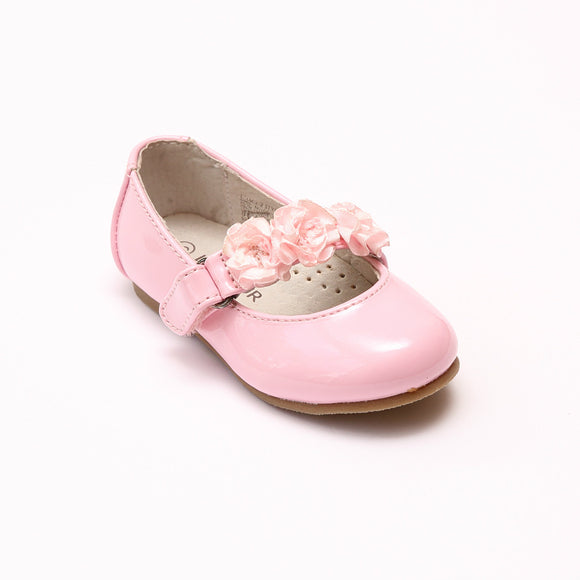 L'Amour Girls Y535 Patent Pink Rosette Flats - Babychelle.com