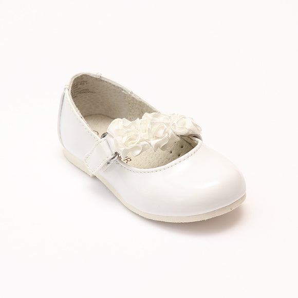L'Amour Girls Y535 Patent White Rosette Flats - Babychelle.com