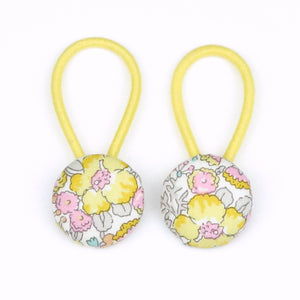 Peony Liberty of London Set of Button Hair Ties In Yellow