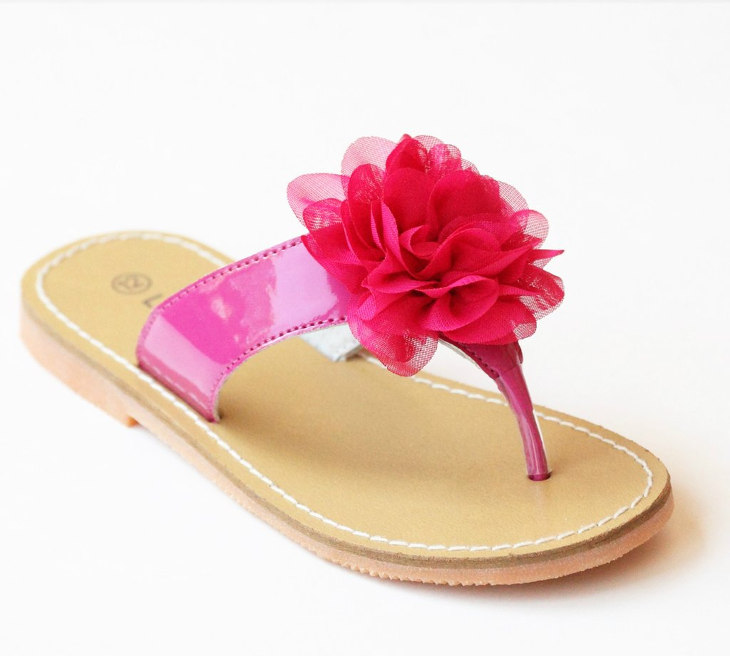 6dd99289458ad L Amour Girls Organza Carnation Flower Thong Sandals – Babychelle