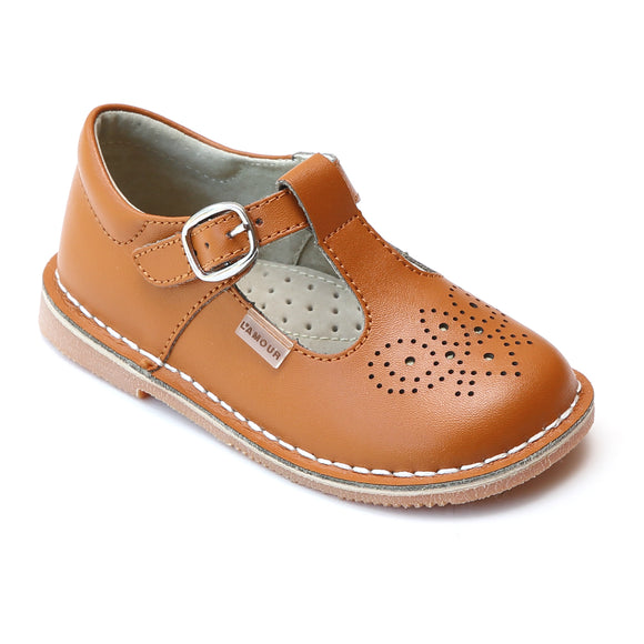 L'Amour Terra Terracotta Brogue Inspired Medallion T-Strap Leather Stitch Down Mary Jane - Babychelle.com