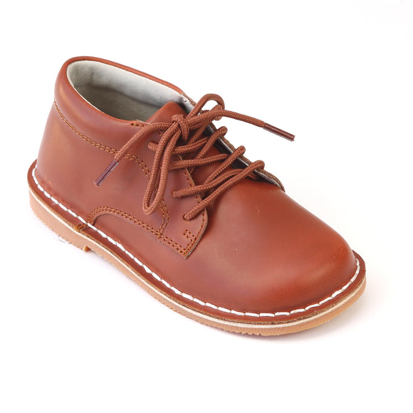L'Amour Boys Tuck Cognac Mid Top Leather Lace Up Shoes - Babychelle.com