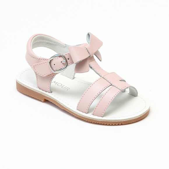 L'Amour Girls Pink Leather T-Strap Bow Sandals - Babychelle.com