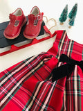 Christmas Red T-Strap Leather Mary Janes by L'Amour at Babychelle.com
