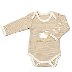 Babymio Striped 100% Organic Cotton Long Sleeve Onesie