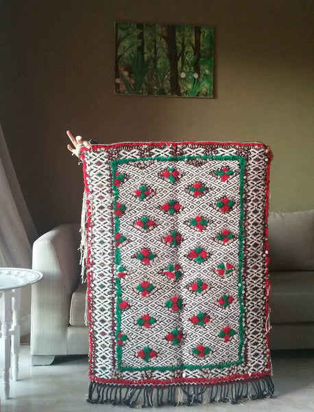 Wedding blanket, One-of-a-kind  Antique Moroccan Wall rug with sequins