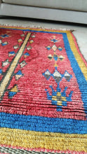 Load image into Gallery viewer, Vintage Moroccan rug, Red Blue Rare Berber Rug, gorgeous antique Morocco rug bedside rug bohemian rug bedroom rug living room rug