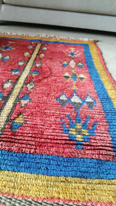 Vintage Moroccan rug, Red Blue Rare Berber Rug, gorgeous antique Morocco rug bedside rug bohemian rug bedroom rug living room rug