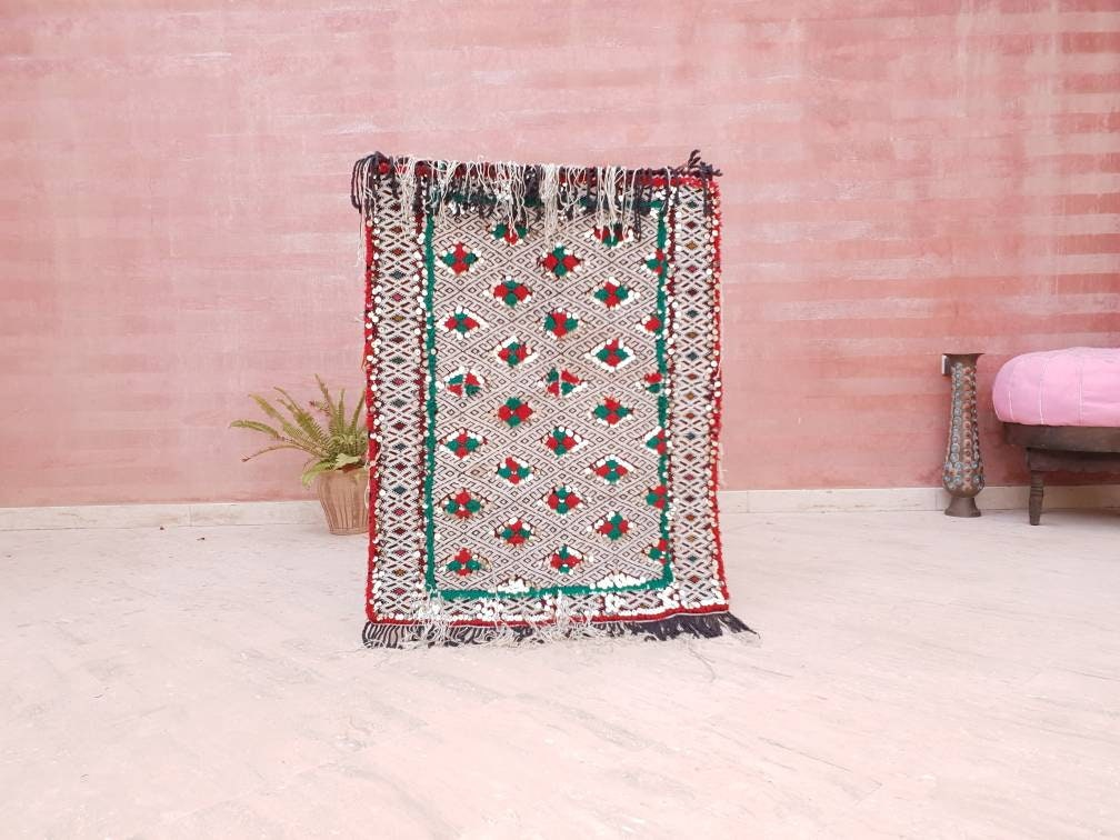 Wedding blanket, One-of-a-kind  Antique Moroccan Wall rug with sequins bedroom rug bedside rug wall rug art rug antique rug morrocan rug
