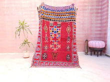Load image into Gallery viewer, Vintage Moroccan rug 4x6 Fine Azilal rug, Authentic Berber morrocan rug, red bedroom rug living room rug boho rug vintage beni ourain rug