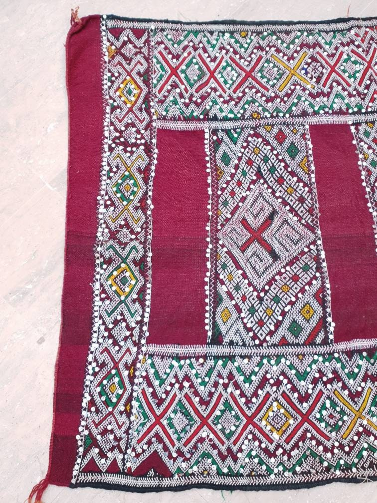 Incredible Morrocan rug Sequined 4×10 ft Family Berber Rug  Morrocan rug morocco rug kilim rug bedroom rug living room rug maroon rug