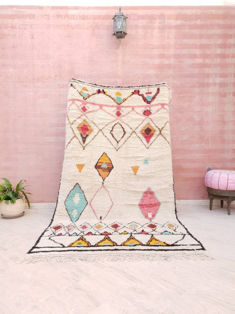 Gorgeous Moroccan Rug 5.5×9 Softest Berber Azilal Rug, beni ourain rug, Authentic Morrocan rug Nursery rug bedroom rug  living room rug
