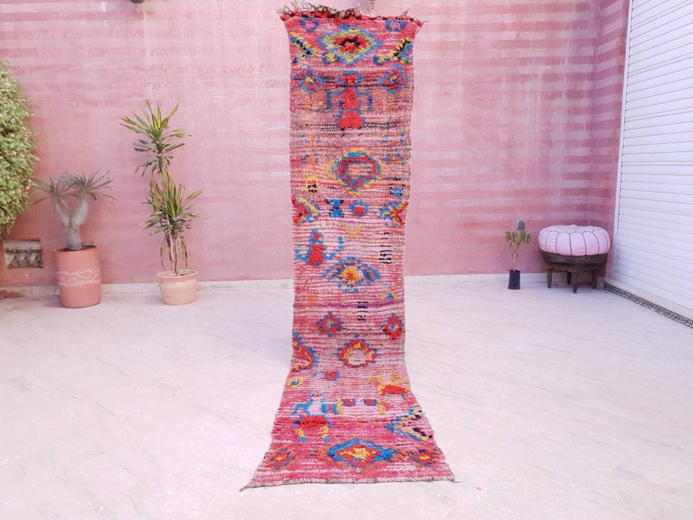 Incredible Vintage Moroccan Rug  2.1x10 Boujaad rug, Unique runner Rug Morrocan rug  bedroom rug living hallway rug colorful rug morocco rug