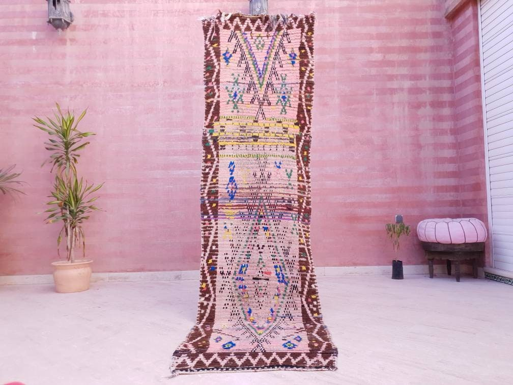 Vintage Moroccan rug 2.4x8.7 Runner rug Antique Incredible morrocan hallway rug boujaad rug colorful boujad entryway rug berber bedroom rug