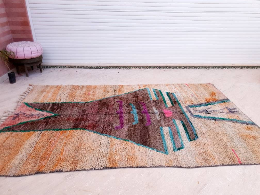 Vintage Morrocan rug 5.9x9.5 | Boujaad rug, gorgeous Moroccan rug, living room rug Unique large boujad rug colorful  bedroom rug morocco rug