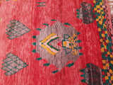 "Incredible Vintage Red Moroccan Rug | Morrocan Rug ""That Face"" Striking vintage Boujaad Rug 