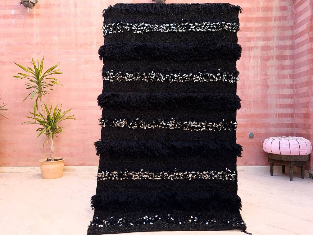 Gorgeous Black Gold Moroccan Wedding blanket with Sequins 4.1x6.3 Moroccan throw, Authentic Berber blanket, Black Gold Handira Blanket