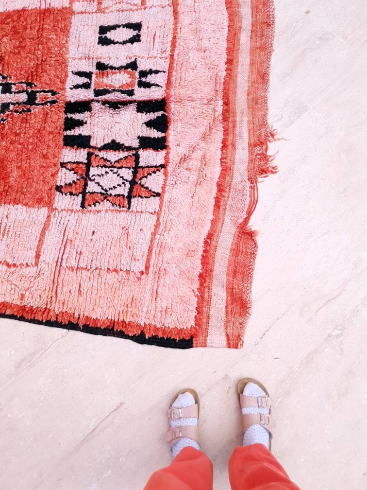 Vintage Moroccan rug 5.7x9.2 Precious boujaad rug blush red carpet, bedroom living room rug bohemian tribal berber rug large area rug