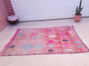 Vintage Moroccan Rug 5.8x9  Unique Pink And Pastels Boujaad rug, Living room rug, Artistic Rug, bedroom rug, living room rug