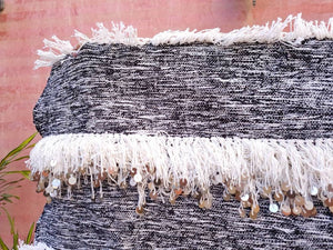 Gorgeous Moroccan Wedding blanket with Sequins 4.1x6.3 Moroccan throw, Authentic Berber wedding blanket, White Gray Handira Blanket
