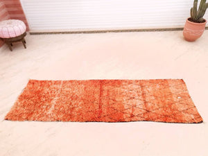 "Gorgeous Moroccan Rug ""Calimero"" 2.6x8.1 unique Vintage orange Boujaad rug Hallway rug, Unique Orange Red rug, Authentic Morrocan rug"