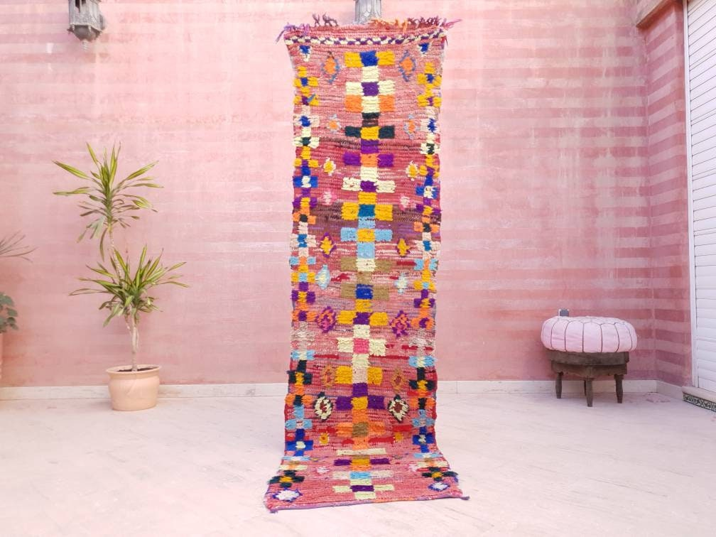 Super Pretty Vintage Moroccan Rug 2.2x8.3 | Colorful Boujaad runner rug  bedroom living | hallway berber rug boujad entryway rug