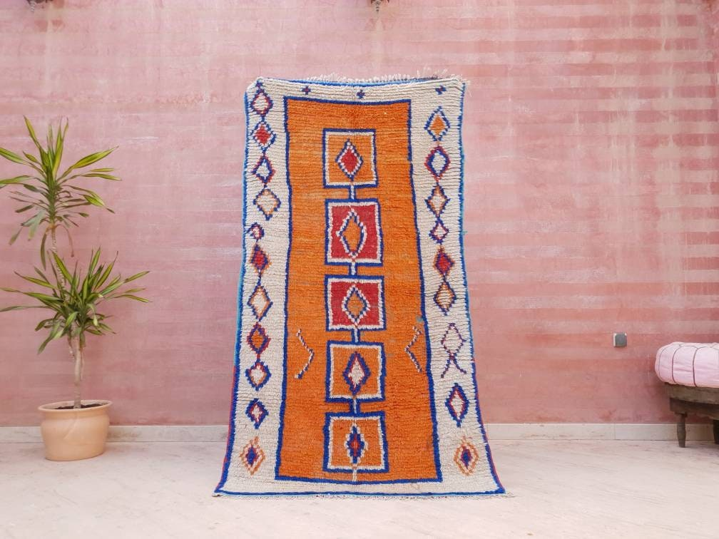 VintageMoroccan Rug Orange Azilal Berber Rug, 3.3x6 Boujaad Rug bedroom, living room morrocan rug orange carpet vintage boujad rug