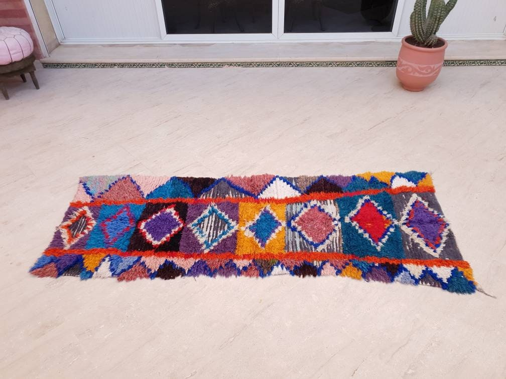 Gorgeous Moroccan Runner Rug 2.7x7.5  Super Pretty Vintage Boujaad rug Blush rug Colorful Hallway rug Unique Authentic Antique Rug