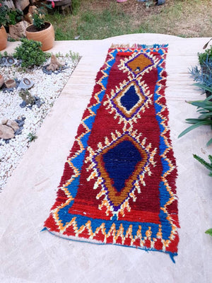 Gorgeous Vintage Moroccan rug 2.2x7.5 Unique Lovely hallway rug colorful Maroon rug, boujaad rug boucherouite rug