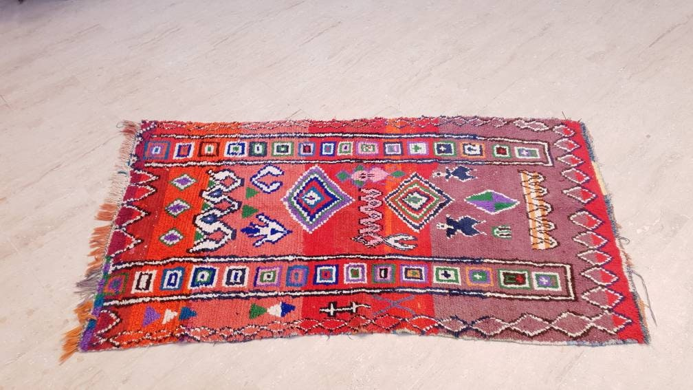 Vintage Moroccan rug 3.5x6.2 Unique Boujaad Rug, TWO OF US Collector Morrocan rug, red pink rug vintage boujad rug