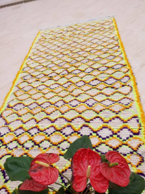 Vintage Moroccan Rug, 4x8.6 bedroom rug, Yellow Purple Rug, bright living room rug, popping color rug, accent rug, nursery rug, colorful rug