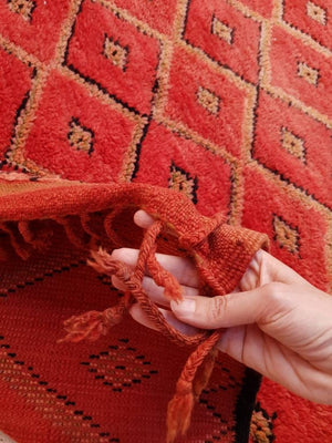 Vintage Moroccan rug 6.5x10.2 Boujaad Red Rug | A Stunning Gem | blush warm tones muted red rug  bedroom living room rug boho rug berber rug