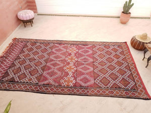 Vintage Moroccan Rug 6.3x11.8 Stunning kilim rug, Large area rug Vintage sequins berber rug Bedroom Rug, Warm Red Orange Geometric Rug