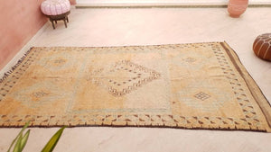"Vintage Moroccan Rug 6x11.5 exquisite unique cream rug ""November MACCHIATO"" Boujaad rug large berber rug blush Stunning living room rug"