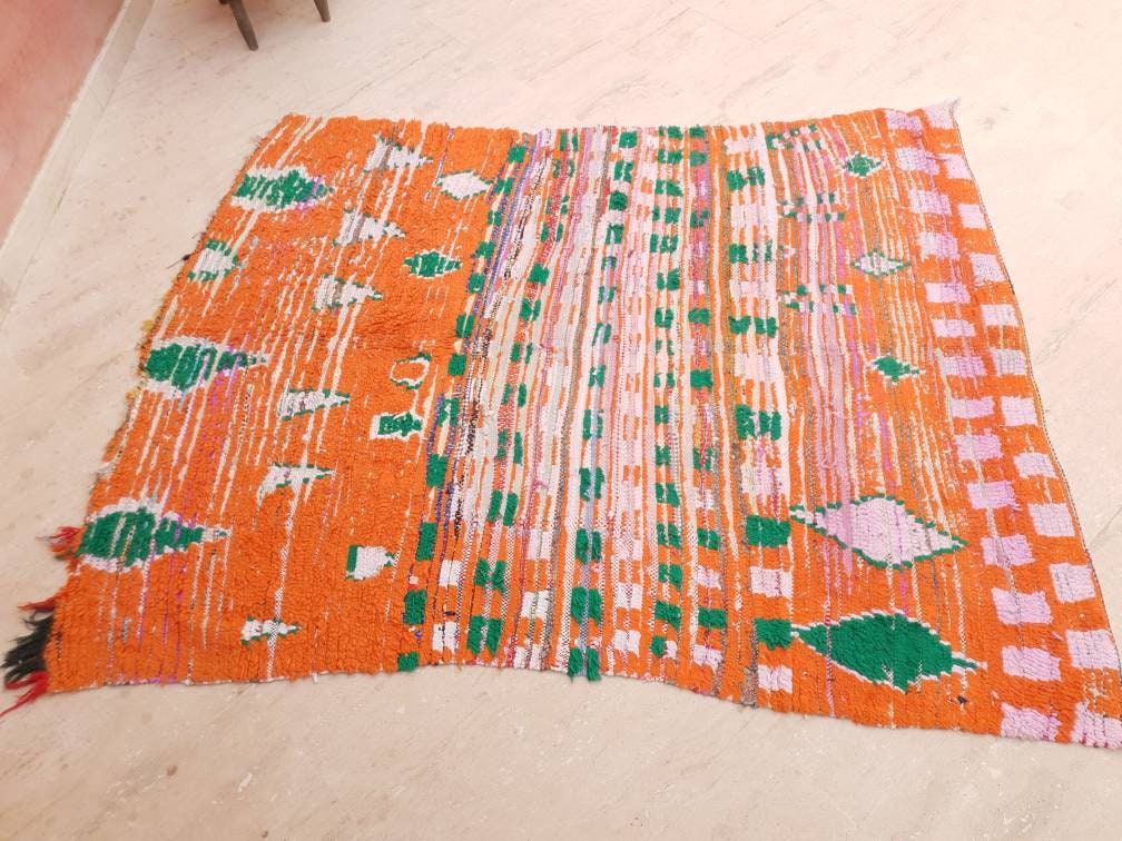 Vintage Moroccan Rug 5x6.7 Stunning Orange Super Unique Boujaad Rug, Green & Lilac Accents, Living room morrocan rug boucherouite boujad rug