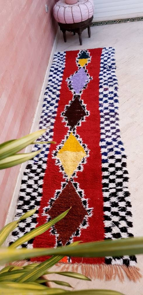 Vintage Moroccan rug 2.6x8.9 Runner rug | Unique Abstract hallway rug boujaad rug colorful rug entryway rug appartment rug berber boujad rug