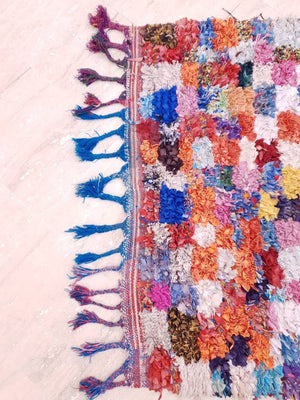 "Vintage Moroccan Rug boucherouite rug 3.5x6.3 ""Whimsical Forest"" Stunning Berber rug bedroom rug, living room  rug colorful rug boho rug"