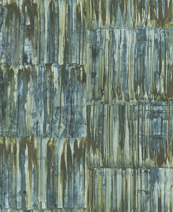 Patina Panels Blue Metal Wallpaper Wallpaper