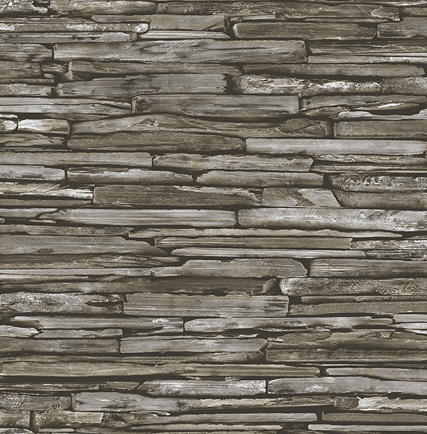 Stacked Slate Green Industrial Wallpaper Wallpaper