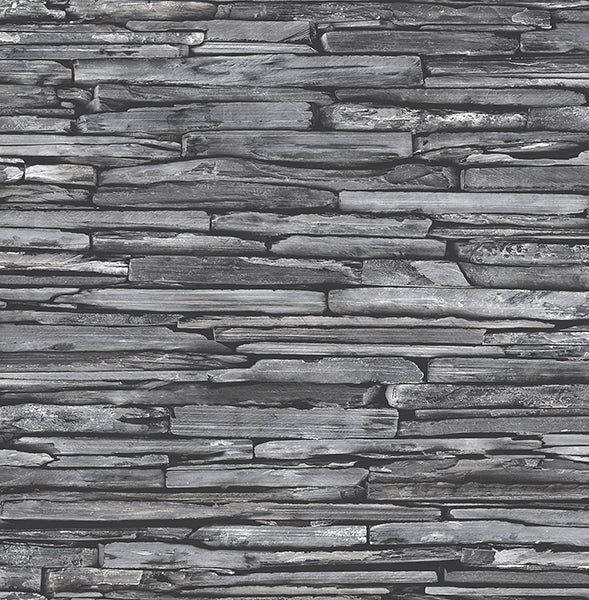 Stacked Slate Charcoal Industrial Wallpaper Wallpaper