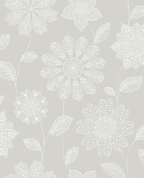 Panache Taupe Floral Wallpaper Wallpaper