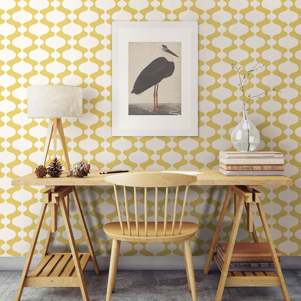 Ashbury Yellow Retro Wallpaper