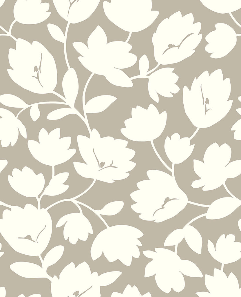 Astrid Taupe Floral Wallpaper Wallpaper