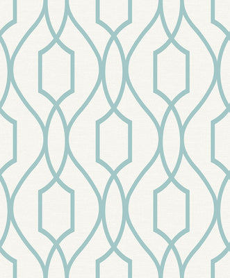 Evelyn Teal Trellis Wallpaper Wallpaper
