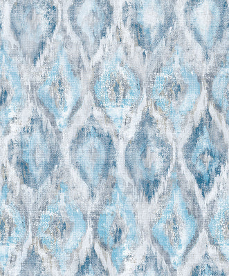 Gilboa Blue Ikat Wallpaper Wallpaper